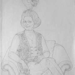 Drawing for the picture Old Lady with a Cock. 2001. Graphite pencil on paper. 86x63 (33 7/8 x 23 3/4 in) // Малюнок до картини «Дама з півнем». 2001. Папір, олівець. 86x63