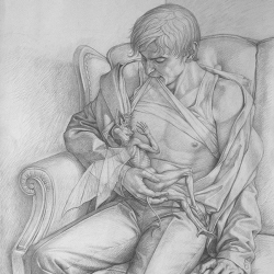 Drawing for the picture Feeding Chimera. 2004. Graphite pencil on paper. 60x45 (23 5/8 x 17 3/4 in) // Малюнок до картини «Вигодовування Химери». 2004. Папір,олівець. 60x45