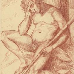 "The drawing to the painting ""The shepherd sleeping and lizard"". 2010. Paper, black chalk. 30x20,5 (11 7/8 x 8 1/8 in) // Малюнок до картини «Пастушок, що спить та ящірка». 2010. Папір, сангіна. 30x21"