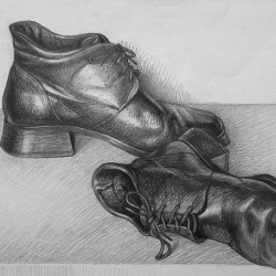 Boots. 2003. Graphite pencil on paper. 29,7x42 (11 7/8 x 16 1/2 in) // Черевики. 2003. Папір,олівець. 29,7x42