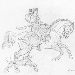 Horsewoman. 2003. Graphite pencil on paper. 21x29,7 ( 8 1/4 x 11 7/8 in) // Вершниця. 2003. Папір,олівець. 21x29,7