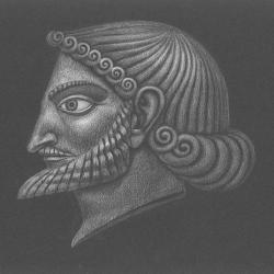 Prometheus-2 – head. 2000. Colored pencils on black paper. 21x29,7 ( 8 1/4 x 11 7/8 in) // Прометей-2 – голова. 2000. Чорний папір, кольорові олівці. 21x29,7
