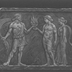 Prometheus-3 – relief.  2000. Colored pencils on black paper. 21x29,7 ( 8 1/4 x 11 7/8 in) // Прометей-3 – рел'єф. 2000. Чорний папір, кольорові олівці. 21x29,7