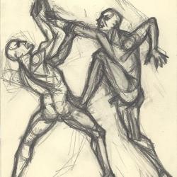 Two men who is fighting with swords. 2004. Graphite pencil on paper. 24x18 (9 1/2 x 7 1/8 in) // Два чоловіки, що б'ються на мечах. 2004. Папір, олівець. 24x18