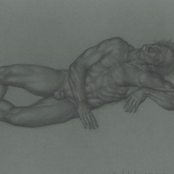 The sleeping man.2012. Graphite pencil on paper. 21x29,7 (8 1/4 x 11 7/8 in) // Чоловік, що спить. 2012. Папір, олівець. 21x29,7