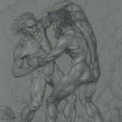 Two men fighting with each other. 2012. Paper, colored pencil. 29,7 x21 (11 7/8 x 8 1/4 in) // Два чоловіки, що борються один з одним. 2012. Папір, кольорові олівці. 29,7x21