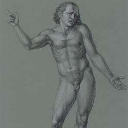 The surprised man's figure. 2012. Paper, colored pencil. 29,7 x21 (11 7/8 x 8 1/4 in) // Фігура здивованого чоловіка. 2012. Папір, кольорові олівці. 29,7x21