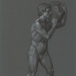 Greek guy carring stone. 2012. Paper, pastel. 29,7 x21 (11 7/8 x 8 1/4 in) // Грецькій хлопець, що несе каміння. 2012. Папір, пастель. 29,7x21