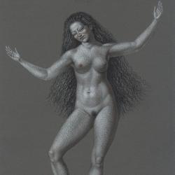 The girl dancing. 2012. Paper, pastel. 29,7 x21 (11 7/8 x 8 1/4 in) // Дівчина, що танцює. 2012. Папір, пастель. 29,7x21