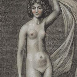 The drawing of the girl. 2012. Paper, pastel, sanguine. 29x13 (11 3/8 x 5 1/8 in) // Малюнок дівчинки. 2012. Папір, пастель, сангіна. 29x13