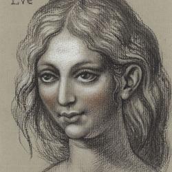Eve. Portrait. 2012. Paper, pastel, sanguine. 16x12,7 (6 1/4 x 5in) // Єва. Портрет. 2012. Папір, пастель, сангіна. 16x12,