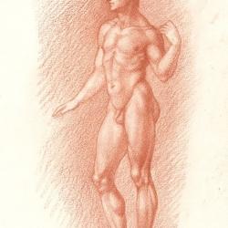 The drawing of the boy. 2012. Paper, sanguine. 21x14,7 (8 1/4 x 5 3/4 in) // Малюнок чоловічьої фігури. 2012. Папір, сангіна. 21x14,7