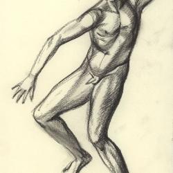 The boy dancing. 2011. Paper, black chalk. 30x20,5 (11 7/8 x 8 1/8 in) // Хлопець, що танцює. 2011. Папір, чорна крейда. 30x20,5