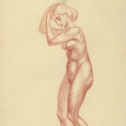The drawing of the girl's figure. 2010. Paper, sanguine. 30,5x21 (12 x 8 1/4 in) // Малюнок фігури дівчини. 2010. Папір, сангіна. 30,5x21