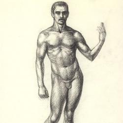 The drawing of the male figure. 2011. Paper, pastel. 29,7x21 (11 7/8 x 8 1/4 in) // Малюнок чоловічої фігури. 2011. Папір, пастель. 29,7x21