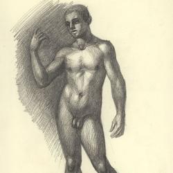 The drawing of the boy. 2009. Paper, black chalk. 29,7x21 (11 7/8 x 8 1/4 in) // Малюнок фігури хлопця. 2009. Папір, чорна крейда. 29,7x21