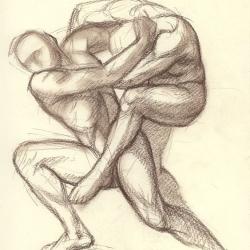 Two men fighting. 2010. Paper, sepia. 21x29,7 (8 1/4 x 11 7/8 in) // Дві чоловіки, що борються. 2010. Папір, сепія. 29,7x21