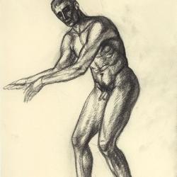 The blind man's figure. 2011. Paper, black chalk. 30x20,7 (11 7/8 x 8 1/4 in) // Малюнок сліпого чоловіка. 2011. Папір, чорна крейда. 30x20,7