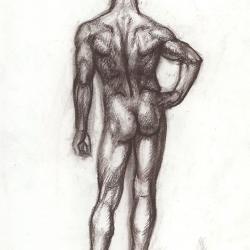 The drawing man's figure from the back. 2003. Paper, sepia. 29,7x21 (11 7/8 x 8 1/4 in) // Малюнок чоловічої фігури зі спини. 2003. Папір, сепія. 29,7x21