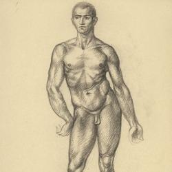 The drawing of the male figure. 2010. Paper, black chalk. 30,5x21 (12 x 8 1/4 in) // Малюнок чоловічої фігури. 2010. Папір, чорна крейда. 30,5x21