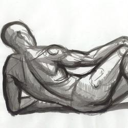 The lying man - 2. 2003. Paper, sepia. Paper, ink. 21x29,7 (8 1/4 x 11 7/8 in) // Чоловік, що лежить - 2. 2003. Папір, туш. 21x29,7