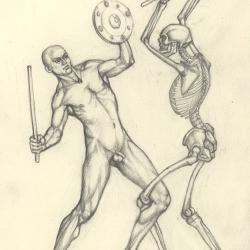 З серії малюнків до картини «Бій глиняних чоловічків з кістяками». 2004. Папір, олівець. 21x15