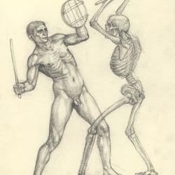 З серії малюнків до картини «Бій глиняних чоловічків з кістяками». 2004. Папір, олівець. 19,2x14,8