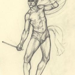 З серії малюнків до картини «Бій глиняних чоловічків з кістяками». 2004. Папір, олівець. 20,5x14,5