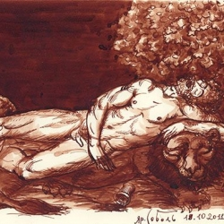 Drunk Hercules. 2011. Paper, ink. 13x19 (5 1/8 x 7 1/2 in) // П'яний Геракл. 2011. Папір, туш. 13x19