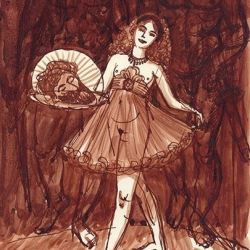 Salome. 2011. Paper, ink. 19x13 (7 1/2 x 5 1/8 in) // Соломія. 2011. Папір, туш. 19x13