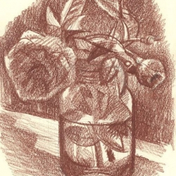 Tea Roses. 2005. Sanguine on paper. 20,5x14,5 (8 x 5 5/8 in) // Чайні троянди. 2005. Папір, сангіна. 20,5x14,5