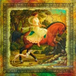 Horsewoman. 2008. Mixed media. 30x30 (11 7/8 x 11 7/8 in) // Вершниця. 2008. Мішана техніка. 30x30