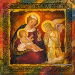 Virgin with the infant Christ and Angel-2. 2006. Mixed media. 30x30 (11 7/8 x 11 7/8 in) // Богородиця з немовлям Христом та ангелом-2. 2006. Мішана техніка. 30x30
