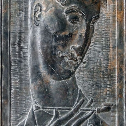Self-Portrait. 1991. Copper, embossing // Автопортрет. 1991. Чеканка
