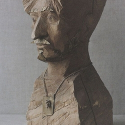 Self-Portrait with the talisman. 1996. Wood, copper. 47,5x23x21,5 (18 3/4 x 9 x 8 1/2 in) // Автопортрет з талісманом. 1996. Дерево, мідь. 47,5x23x21,5