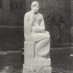 Degree work Kozak Mamay. 1992. Limestone. 220x80x60 (86 1/2 x 31 1/2 x 23 5/8 in) // Дипломна робота «Козак Мамай». 1992. Вапняк. 220x80x60
