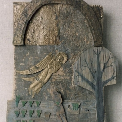 Mary in the Joseph's house. 1997. Wood, tempera, copper, (dried flowers). 44,5x37x5 (17 1/2 x 14 5/8 x 2 in) // Марія в домі у Йосифа. 1997. Дерево, темпера, мідь, (сухі квіти). 44,5x37x5