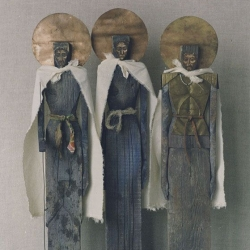 I see three men. 1996. Wood, gesso, tempera, copper, canvas. 72x48x17,5 (28 3/8 x 18 7/8 x 7in) // Я бачу трьох мужів. 1996. Дерево, левкас, темпера, мідь, полотно. 72x48x17,5