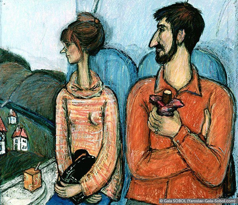 "GALA SOBOL In the train ""Munich-Nuremberg"". 1998. Ink and pastel on paper. 36,5x42 (19 5/8 x 14 3/8 in) // У потязі «Мюнхен-Нюрнберг». 1998. Папір, туш, пастель. 36,5x42"