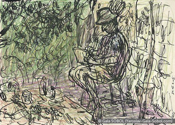 GALA SOBOL Yaroslav is working en plein air-1. 2005. Ink and colored pencil on paper. 10x14 (4 x 5 1/2 in) // Ярослав працює на пленері-1. 2005. Папір, туш, кольорові олівці. 10x14