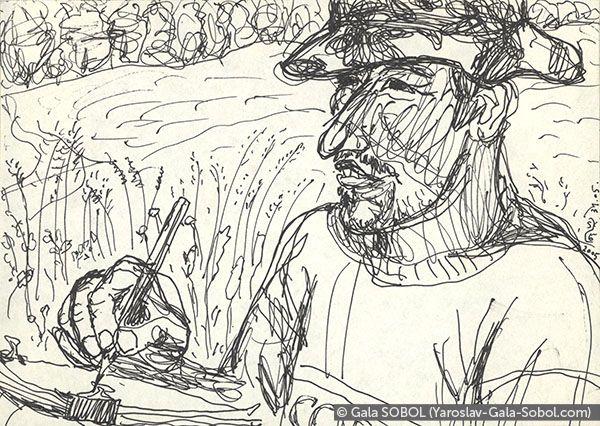 GALA SOBOL  Yaroslav is working en plein air-2. 2005. Gel pen on paper. 10x14 (4 x 5 1/2 in) // Ярослав працює на пленері-2. 2005. Папір, гелева ручка. 10x14