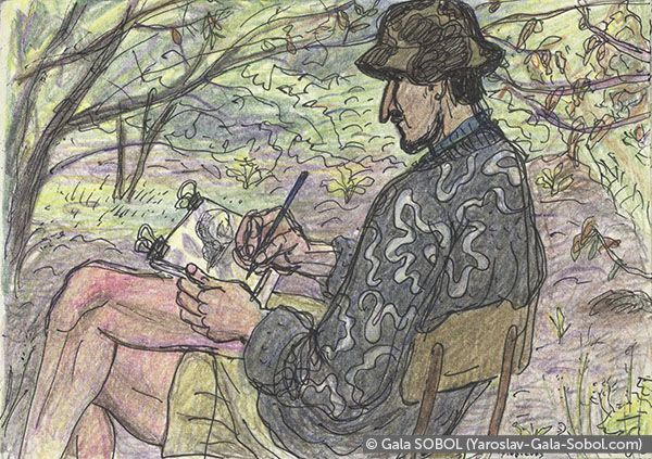 GALA SOBOL  Yaroslav is working en plein air-3. 2005. Gel pen and colored pencil on paper. 10x14 (4 x 5 1/2 in) // Ярослав працює на пленері-3. 2005. Папір, гелева ручка, кольорові олівці. 10x14