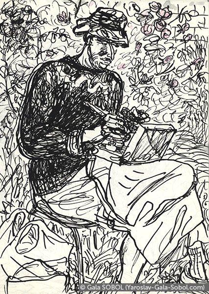 GALA SOBOL  Yaroslav is working en plein air-4. 2005. Ink and colored pencil on paper. 14x10 (5 1/2 x 4 in) // Ярослав працює на пленері-4. 2005. Папір, туш, кольорові олівці. 14x10
