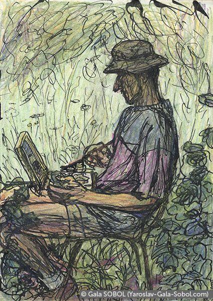 GALA SOBOL  Yaroslav is working en plein air-6. 2005. Ink and colored pencil on paper. 14x10 (5 1/2 x 4 in) // Ярослав працює на пленері-6. 2005. Папір, туш, кольорові олівці. 14x10
