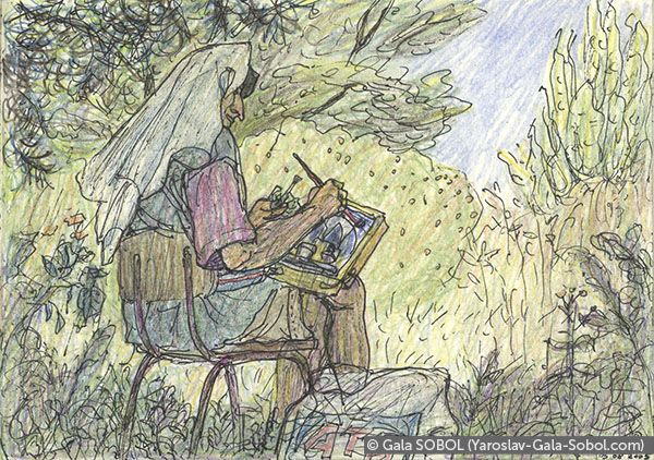 GALA SOBOL  Yaroslav is working en plein air-7. 2005. Gel pen and colored pencil on paper. 10x14 (4 x 5 1/2 in) // Ярослав працює на пленері-7. 2005. Папір, гелева ручка, кольорові олівці. 10x14