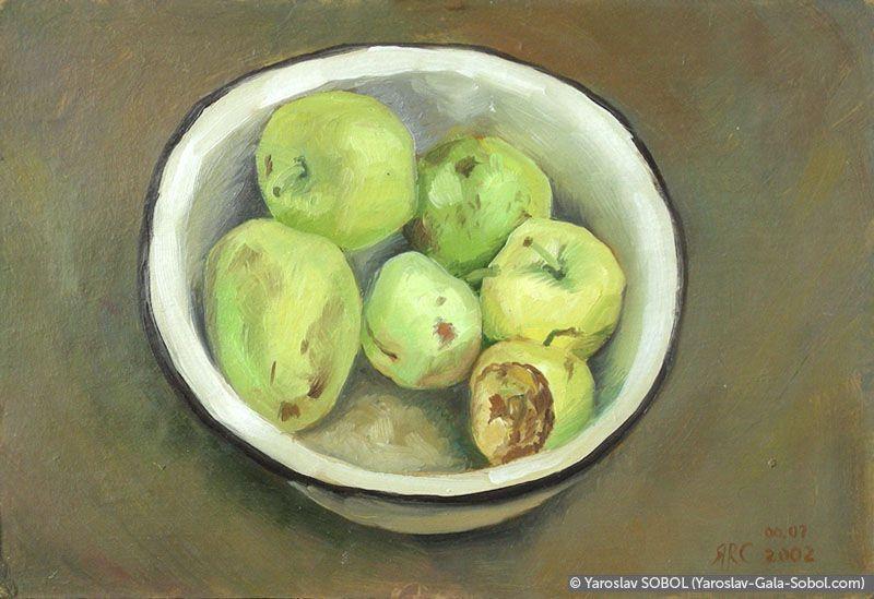 YAROSLAV SOBOL  Apples. 2002. Oil on cardboard. 20x29 (7 7/8 x 11 3/8 in) // Яблука. 2002. Картон, олія. 20x29