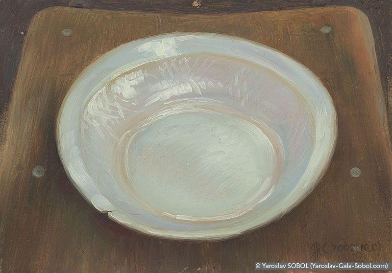 YAROSLAV SOBOL  Plate. Sketch.2002. Oil on cardboard. 16,5x23,5 (6 1/2 x 9 1/4 in) // Тарілка. Етюд. 2002. Картон, олія. 16,5x23,5