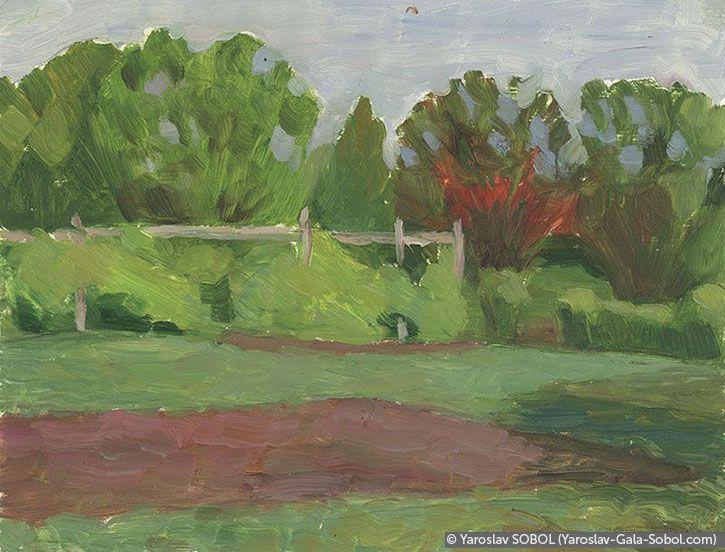 YAROSLAV SOBOL Summer landscape. Sketch #7. 2005. Oil on cardboard. 15x20 (5 7/8 x 7 7/8 in) // Літній пейзаж. Етюд №7. 2005. Картон, олія. 15x20