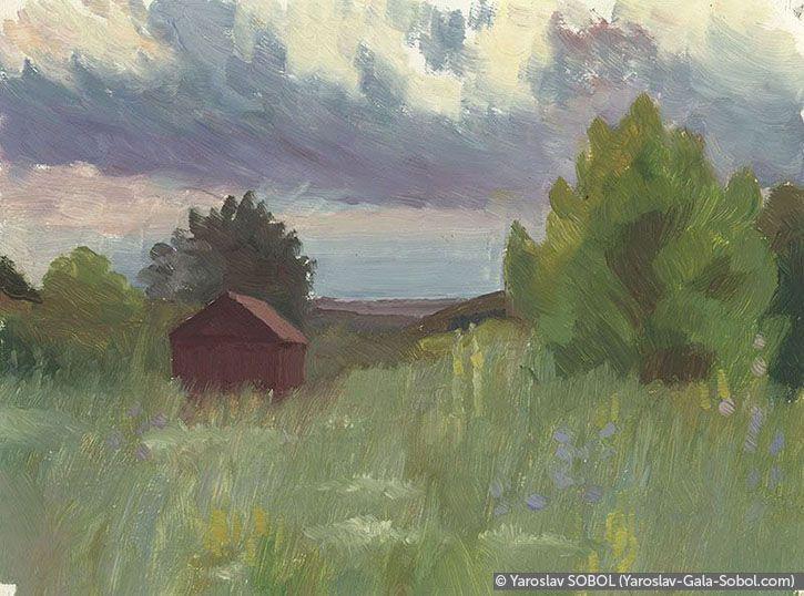 YAROSLAV SOBOL Summer landscape. Sketch-4. 2005. Oil on cardboard. 15x20 (5 7/8 x 7 7/8 in) // Літній пейзаж. Етюд-4. 2005. Картон, олія. 15x20
