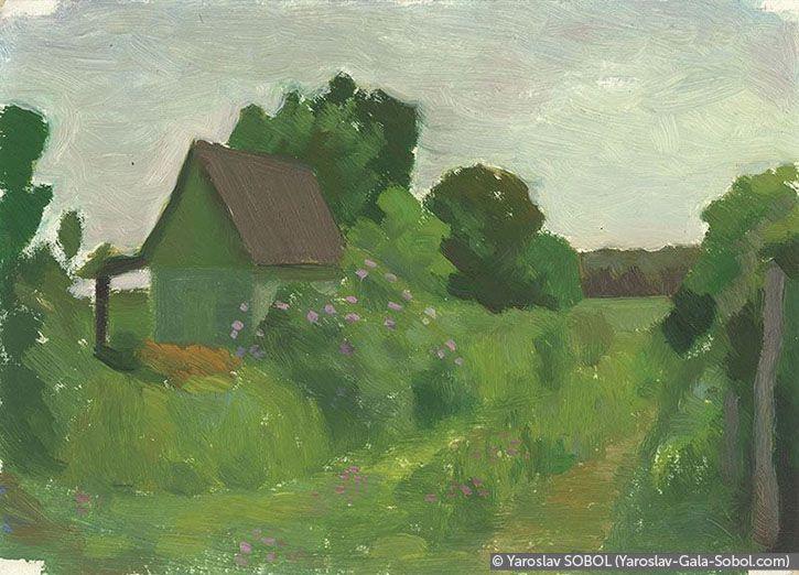 YAROSLAV SOBOL  Summer landscape. Sketch-1. 2005. Oil on cardboard. 15x20 (5 7/8 x 7 7/8 in) // Літній пейзаж. Етюд-1. 2005. Картон, олія. 15x20